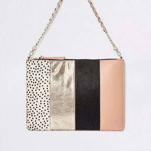 Large Calf-hair Leather Accent Mixed Media Clutch